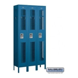 Salsbury Industries - Vented Metal Locker - Single Tier - 3 Wide - 6 Feet High - 12 Inches Deep - Blue - Vented Metal Locker - Single Tier - 3 Wide - 6 Feet High - 12 Inches Deep - Blue - Unassembled