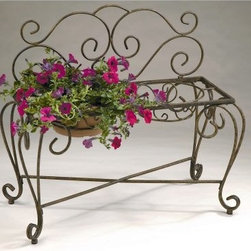 Deer Park Ironworks 2-Pot Bench Planter - Plants and flowers are living creatures, too, and so the urge to spoil them with a gorgeous garden decoration like the Deer Park Ironworks 2-Pot Bench Planter is strong. And why not? It's a delightful way to spruce up a garden area. This two-pot bench is made of heavy gauge steel and complemented with a natural patina powder-coated finish. It can hold two, 8- to 12-inch pots of your favorite greenery or bloomers (as in flowers, don't get weird on us). Whatever you decide to place in this bench planter, you can be sure that the natural patina appearance will nicely complement any decor or color scheme.About Deer Park Ironworks Deer Park Ironworks has a reputation as a premier wrought iron lawn and garden company. They create timeless designs with quality materials and price them at competitive rates. All of their products are made from heavy gauge steel and have a durable powder-coated finish, which are Earth-friendly since they emit zero, or near zero, volatile organic compounds. Deer Park's powder-coating finishes also produce a much thicker coating than conventional liquid coatings that sometimes run or sag. Furthermore, Deer Park's products feature a unique natural patina appearance that complements any decor or color scheme. And their decorative baskets, wall planters, and window boxes come with a fitted coco liner that is a natural product that helps with proper drainage and provides a healthy environment for your plants to grow.