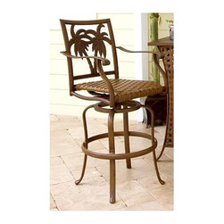 Hospitality Rattan - Coco Palm Patio Swivel Barstool 30 in. in Dar - Palm tree accents and a woven wicker seat bring a relaxed, island inspired style to this swivel bar stool, a perfect addition to a casual breakfast bar or a patio tiki lounge. The stool is made of aluminum in dark bronze tone finish and is enhanced by graceful curves. This product is warranted for outdoor use. Made of Extruded Aluminum Frame w Twitchel fiber. Finished in a powder coated dark bronze finish. Twitchel Wicker Fiber. Weather and UV resistant. Constructed of extruded aluminum frame will not rust. Sturdy aluminum legs for extra support. Matching seating group and dining available. Seat Height: 30 inches. 23 in. W x 29 in. D x 47 in. H (20 lbs.)This traditional Coco Palm collection incorporates a carved tropical palm tree design on an extruded aluminum frame that will not rust. The deep seating includes cushions while the dining chairs, and bar stool are beautifully woven with a high-density polyethylene (HDPE) weave called twitchel. Cushions are optional for the dining set. The Coco Palm chairs are not only very durable, but are also stackable for easy storage. The dining table tops are tempered glass and will accommodate an umbrella. The collection also features a special aluminum slatted top on the coffee table, end table, and bar top. The cushions used on the Coco Palm seating are available with synthetic outdoor fabrics including Sunbrella.