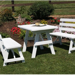 A and L Furniture - A & L Furniture Yellow Pine Traditional Picnic Table with 2 Backed Benches - 241 - Shop for Tables from Hayneedle.com! Add style and comfort to your backyard with the Traditional Picnic Table with 2 Backed Benches. This beautiful premium-quality table is hand-crafted by Amish workers in Pennsylvania using all-natural untreated and knot-free wood. It's then hand-sanded to ensure a smooth finish and painted in your choice of color using 100% acrylic paint. Or if you prefer you can get your table unfinished so you can put your own finishing touch on it. This table has yellow zinc-plated hardware for durability. Dimensions: 4-ft. Table: 44L x 27W x 30H inches 4-ft. Bench: 44W x 14D x 17H inches 5-ft. Table: 58L x 27W x 30H inches 5-ft. Bench: 58W x 14D x 17H inches 6-ft. Table: 70L x 27W x 30H inches 6-ft. Bench: 70W x 14D x 17H inches 8-ft. Table: 94L x 27W x 30H inches 8-ft. Bench: 94W x 14D x 17H inches About A and L Furniture:For fine-quality furniture you can't find much better than Amish-made pieces. Using hydraulic- and pneumatic-powered woodworking tools and wood hand-selected for each furniture piece Amish craftsmen pay great attention to each detail resulting in beautiful and timeless furniture. Amish woodworkers select each piece of wood for its grain and other individual characteristics and these characteristics are highlighted so that no two pieces of furniture are ever identical. Made in the heart of Pennsylvania by these dedicated workers each piece of A and L's furniture is sure to become a treasured heirloom for your family.Please note this product does not ship to Pennsylvania.