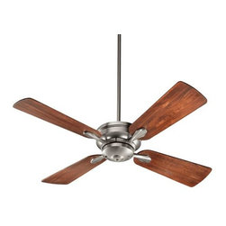 "Quorum International - Valor Ceiling Fan by Quorum International - Make a statement with understated sophistication and minimalist style. The Quorum Valor Ceiling Fan features four blades spanning 52"", the ideal size for living rooms and large bedrooms. The rich grain of the Distressed Vintage Walnut blades is enhanced by the subtle detailing of the housing and blade holders. Available in two finishes. Unique products for unique customers. That's what Quorum International has been creating since 1981. From their headquarters in Fort Worth, Texas, Quorum designs ceiling fans and lighting fixtures in a wide range of styles to meet a wide range of discerning tastes. The high quality of these pieces ensures that their beauty will last for many years to come."