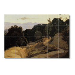 Picture-Tiles, LLC - Road Through Wooded Mountains Tile Mural By Jean Corot - * MURAL SIZE: 32x48 inch tile mural using (24) 8x8 ceramic tiles-satin finish.