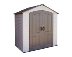 Lifetime 7 x 4.5 ft. Outdoor Garden Shed - Additional featuresInterior dimensions: 6.5W x 4.2D x 7.4H ft.Door dimensions: 4.5W x 6.3H ft. You can finally stop trying to get organized in your limited space, and get the storage you need with the Lifetime 7 x 4.5 Foot Outdoor Garden Shed from Lifetime Sheds. Constructed of strong and resilient high-density polyethylene plastic (HDPE) and powder-coated hardware, you'll have 202 cubic feet of storage space to get a handle on your gardening and outdoor supplies. This low-maintenance structure requires no painting or finishing and is UV-resistant. The simulated shingle roof is designed to shed snow and rain, giving you more time to think about what's inside the shed instead of worrying about what's on the outside.The double doors provide easy access, and close securely with internal spring latches, interior deadbolts and an exterior padlock loop. A screened vent above the door allows for ventilation, and the polyethylene floor is resistant to oil, solvents, and stains. This shed comes with a 10-year limited manufacturer's warranty. Assembly can easily be accomplished in a weekend by two or more people. A level wooden base or gravel pad will be necessary.For your convenience, liftgate service is included with this purchase. This means that upon delivery, the carrier will use a liftgate on the truck to lower your item to the ground. You will then need a dolly or handtruck, or assistance with the product from that point on. Many retailers charge for this service of getting the package off the truck or require the customer to do it themselves.About Lifetime ProductsOne of the largest manufacturers of blow-molded polyethylene folding tables and chairs and portable residential basketball equipment, Lifetime Products also manufactures outdoor storage sheds, utility trailers, and lawn and garden items. Founded in 1972 by Barry Mower, Lifetime Products operates out of Clearfield, Utah, and continues to apply innovation and cutting-edge technology in plastics and metals to create a family of affordable lifestyle products that feature superior strength and durability.
