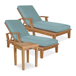 Thos. Baker - veranda 3pc chaise set in grey texture - The veranda collection of teak dining and deep seating outdoor furniture features our premium teak in a classic mid-century design. Mortise-and-tenon construction with marine-grade stainless steel hardware to withstand the elements. Grade A, sustainably harvested plantation-grown teak.Veranda pieces exhibit timeless design, supreme comfort and great value. Quick-ship cushions available in Sunbrella denim and blue sage. Or choose made-to-order cushions in one of many other Sunbrella and other performance outdoor fabrics. Please remember made-to-order cushion sales are non-refundable.Signature or premium cushion sales are final and ship in 2-3 weeks. Ships with dupione dove cushion.