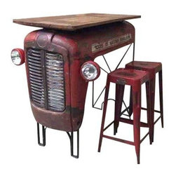 Pre-owned Upcycled Vintage Tractor Bar - This abandoned vintage tractor was rescued from an empty field and magnificently repurposed into a table bar with a reclaimed wooden top, giving it a second and useful long life.  Curated by an out-of-the-box thinker and creative type who envisions masterpieces when others only see trash, this special and unique design is for the discerning individual who is not into the mass-produced, cookie-cutter look and wants to ensure that there is nothing common about any of their home furnishings.  It comes equipped with two color-complimented bar stools.