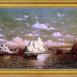 """William Bradford-16""""x24"""" Framed Canvas - 16"""" x 24"""" William Bradford Arctic Harbor framed premium canvas print reproduced to meet museum quality standards. Our museum quality canvas prints are produced using high-precision print technology for a more accurate reproduction printed on high quality canvas with fade-resistant, archival inks. Our progressive business model allows us to offer works of art to you at the best wholesale pricing, significantly less than art gallery prices, affordable to all. This artwork is hand stretched onto wooden stretcher bars, then mounted into our 3"""" wide gold finish frame with black panel by one of our expert framers. Our framed canvas print comes with hardware, ready to hang on your wall.  We present a comprehensive collection of exceptional canvas art reproductions by William Bradford."""