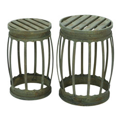 Benzara - Barrel Shaped Metal Stool with Greenish Finish- Set of 2 - Carved to impress with its design, this Metal Stool - Set of 2 will make a style statement in your room when accompanied by the proper home settings. Made from high quality metal, this set of stool can help you to decorate interior as well as outdoor ambience as its build promises to withstand all seasons with a charm flaunting a lustrous shine. It is designed to form a barrel shape to accent its looks and functionality, making it strong in structure. It is made to complement your decor and at the same time provide you with a suitable level of comfort. Available in a green color, it is crafted with minimal details created by a set of neat lines. Originated in China, it marks the excellent futuristic creativity of the skilled Chinese craftsmen. It is available in 2 size variants - 18 in.  H x 12 in.  W x 12 in.  D, 19 in.  H x 14 in.  W x 14 in.  D.