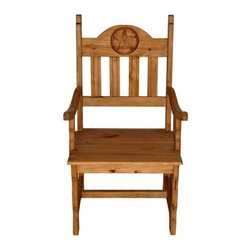 Million Dollar Rustic - Wooden Arm Chair - Wooden seat and texas carved star. Warranty: One year. Made from white pine. 26 in. W x 23 in. D x 45 in. H (30 lbs.)
