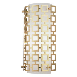 Robert Abbey - Jonathan Adler Parker Wall Sconce, Antique Brass - Freshen up your living room by replacing your old, stodgy wall sconces with this one. The metal outer shade looks ultramodern.