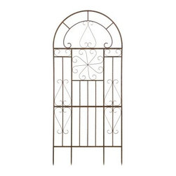 Deer Park Ironworks Large Kaleidoscope Trellis - Beautiful and elegance, the classic Deer Park Ironworks Large Kaleidoscope Trellis is a gorgeous addition to your patio or garden. Its detailed craftsmanship and natural patina appearance adds a sophisticated style to your backyard that complements any decor. Perfect for climbing plants and flowers, you can grow your favorite vegetables or add a touch of color by planting vibrant flowers to decorate the trellis. Crafted from durable, heavy gauge metal with a baked-on, powder-coated finish to protect it from the elements, this trellis also comes with its own ground spikes.About Deer Park Ironworks, LLCYou'll immediately recognize a yard that's been appointed with pieces from Deer Park, thanks to the classic wrought iron designs and traditional finish that has made them an power player in the outdoor furniture industry. Dedicated to creating value for their customers with durable, quality pieces of functional and ornamental wrought iron, Deer Park continues to provide timeless designs while never sacrificing customer service and satisfaction as their pursue their corporate goals.