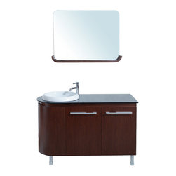 """Stufurhome - 47"""" Arturo Single Sink Vanity with Glass Top - Sleek and sophisticated with a subtle touch of whimsy, the 47"""" Arturo is an eclectic gem among traditional bathroom vanities. Its diminutive basin is planted neatly on one rounded side, allowing for ample countertop space on the other. A matching mirror complements the cabinet's curves beautifully and also features a unique built-in shelf that can be used for decorations or toiletries. Dimensions: 47 in. x 21 in."""
