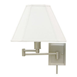 House of Troy - Swing Arm Wall Lamp - House of Troy WS16-31 - Pewter Finish with Cloth Shade. 15.5H x 12.5W x 19Deep. Takes one 100 watt 3-way bulb (not included). Weight: 8 lbs. By House of Troy