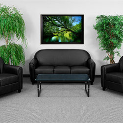 """Flash Furniture - Hercules Envoy Series Reception Set in Black - This attractive black leather reception set will complete your upscale reception area. This set is perfect for the office and as waiting room seating. Not only can you use this set in a professional environment it will offer a chic look to your living room space. The Envoy Series offers comfortable cushions, elegant rounded arms and black wood feet.; Contemporary Reception Seating Set; Rounded Back Design; Fixed Seat and Back Cushions; Fixed Seat and Back Cushions; Foam Filled Cushions; Elegantly Rounded Arms; Sturdy Hardwood Construction; Black Wood Feet; Black LeatherSoft Upholstery; LeatherSoft is leather and polyurethane for added Softness and Durability; CA117 Fire Retardant Foam; Set Includes: Chair, Loveseat and Sofa; Chair Overall Size: 32""""W x 29""""D x 35.75""""H; Seat Size: 21""""W x 20""""D x 18.75""""H; Back Size: 26""""W x 19""""H; Arm Height: 25""""H from Floor; Love Seat Overall Size: 52""""W x 29""""D x 35.75""""H; Seat Size: 39.5""""W x 20""""D x 18.75""""H; Sofa Overall Size: 70""""W x 29""""D x 35.75""""H; Seat Size: 57""""W x 20""""D x 18.75""""H; Back Size: 63""""W x 19""""H; Arm Height: 25""""H from Floor; Weight: 350 lbs; Overall Dimensions:32"""" - 70""""W x 29""""D x 35.75""""H"""
