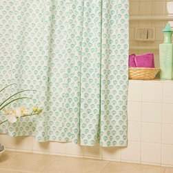 Beach Themed  Bathroom Decor - Seaside Savvy Beach Style shower curtain, a lovely Indian print shower curtain of rich turquoise. This blue-green/teal print will give your washroom a tropical feel.Hand Block Printed from Attiser