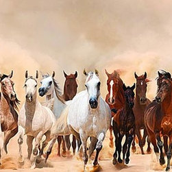 Magic Murals - Horse Storm Panorama Wall Mural -- Self-Adhesive Wallpaper by MagicMurals - A herd of mixed horses runs towards us to escape the sand storm racing behind them.  You can almost feel the ground trembling as these mustangs and arabians gallop right out of the image and into your room.