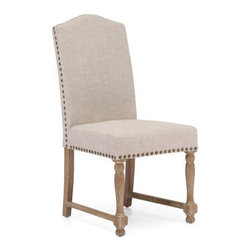 Grandin Road - Set of Two Richmond Chairs - High-back chairs upholstered in linen and detailed with sculpted legs and antique brass nailhead trim. Frames and legs crafted from solid oak wood with a subtle weathered finish. Comfortably padded seats and backs. Handsome neutral upholstery colors. Arrive assembled. Perfect for a dining room or office, our Richmond chairs are inspired by upholstered French country furniture. Each chair features a high camel back and dignified details like antique brass nailhead trim and a mix of turned-wood front and tapered back oak legs connected by stabilizing oak bars.. . . . .