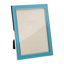 "Origin Crafts - Addison ross light blue enamel frames - Addison Ross Light Blue Enamel Frames Simply one of our best selling designs and originally designed for one of the Use's best known accessory brands. This frame is finished with a Black flocked back and can stand both in Portrait and Landscape format. Dimensions (in): Holds 4"" x6"" photograph Holds"