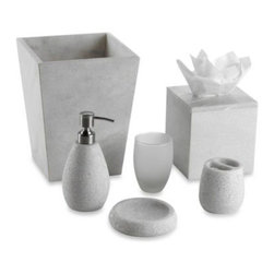 Kenneth Cole Reaction Home - Kenneth Cole Marble Waste Basket - The Marble Bath Ensemble by Kenneth Cole showcases a mix of smooth symmetrical sides on the waste basket and tissue holder with a carved quality on the smaller set pieces.