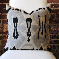 Ikat Black and Grey Hand Print on Natural Linen by Martha & Ash - Pillows are a great way to add color to any space. I love this fun print with its hint of blue.