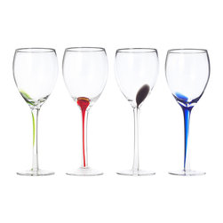 Splash Wineglasses, Set of 4 - These glasses have just enough color to look fresh without being over the top.