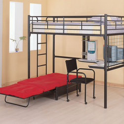 Coaster - 2209 Workstation Loft Bed With Pad - The top twin bunk features full length guard rails for security, while the convenient built-in ladder allows for easy access. The high gloss black metal frame presents a sleek casual appeal that will match any decor. Below the bunk bed is a corner desk, providing room for a work space or computer, while the desk chair offers comfortable seating.