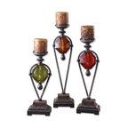 www.essentialsinside.com: kalika, red, green & amber accented candle holders - Kalika, Red, Green & Amber Accented Candle Holders, Set Of 3 by Uttermost, available at www.essentialsinside.com