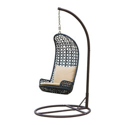 Great Deal Furniture - Brinkley Outdoor Black Wicker Swinging Chair - Enjoy your yard with this fun Brinkley outdoor swinging chair. Built from thick black all-weather meshed wicker, this unique piece is a great addition for your backyard or patio, complete with beige pillows for extra comfort.