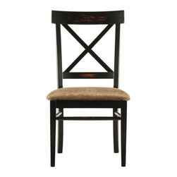 Zona X Black Side Dining Chair - This enchantingly elegant and delightfully versatile dining chair is sure to win accolades for best supporting role in an ensemble performance. With a quick costume change, Zona transforms from fresh, French Country to thoroughly modern Mediterranean to cozy English cottage depending on the fabric you choose. The clean, simple lines are punctuated by a classic, X-back design that adds a touch of subtle yet thoughtful architectural interest to your d�cor. The generously padded seat delivers lasting comfort whether your evening includes an after-hours party, romantic late-night dining or homework with the kids.