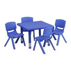 Flash Furniture - Flash Furniture 24 Inch Square Adjustable Blue Plastic Activity Table Set - This table set is excellent for early childhood development. Primary colors make learning and play time exciting when several colors are arranged in the classroom. The durable table features a plastic top  with steel welding underneath along with Height adjustable legs. The chair has been properly designed to fit young children to develop proper sitting habits that will last a lifetime. [YU-YCX-0023-2-SQR-TBL-BLUE-E-GG]