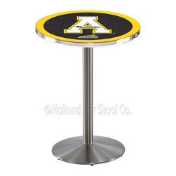 Holland Bar Stool - Holland Bar Stool L214 - Stainless Steel Appalachian State Pub Table - L214 - Stainless Steel Appalachian State Pub Table belongs to College Collection by Holland Bar Stool Made for the ultimate sports fan, impress your buddies with this knockout from Holland Bar Stool. This L214 Appalachian State table with round base provides a commercial quality piece to for your Man Cave. You can't find a higher quality logo table on the market. The plating grade steel used to build the frame ensures it will withstand the abuse of the rowdiest of friends for years to come. The structure is 304 Stainless to ensure a rich, sleek, long lasting finish. If you're finishing your bar or game room, do it right with a table from Holland Bar Stool. Pub Table (1)