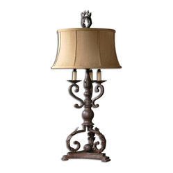 Uttermost - Hope Bronze Table Lamp - Bold, dramatic and unique. This Carolyn Kinder table lamp is sure to catch your eye. The handsome design features an elaborate mahogany bronze base. Although the plated bobeches add an interesting element, no candles are needed here.