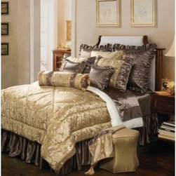 Jennifer Taylor Addison Comforter/Duvet Set - A tasteful, intricately embroidered floral pattern on pale golden faux silk is a harmonious complement to shimmering taupe satin on the Jennifer Taylor Addison Comforter/Duvet Set. This sumptuous bedding collection with transform your bed into a luxurious sleeping palace. It comes in a variety of size options, each with coordinating pillow shams trimmed in diamond quilting, elegant gold fringe, flirty tassels, and trim.Additional Details10-piece set: 1 comforter/duvet: 110 x 96 inches1 bed skirt: 78 x 80 inches (18-inch depth)3 Euro shams: 26 x 26 inches2 kings shams: 21 x 37 inches3 décor pillows9-piece set: 1 comforter: 93 x 96 inches1 bed skirt: 60 x 80 inches (18-inch depth)2 Euro shams: 26 x 26 inches2 standard shams: 20 x 27 inches3 décor shams4-piece set: 1 comforter: 104 x 96 inches1 bed skirt: 60 x 80 inches (18-inch depth)2 king shams: 21 x 37 inchesAbout ACG Green Group, Inc.ACG Green Group is a home furnishing company based in Irvine, California and is a proud industry partner with the American Society of Interior Designers. ACG Green features Jennifer Taylor and Sandy Wilson, their exclusive home décor lines. These two complete collections offer designer home furniture, bedding sets, dining linens, curtains, pillows, and more in classic silhouettes, original designs, and rich colors to complement your home and life.