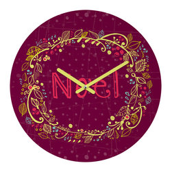 """DENY Designs - DENY Designs Rachael Taylor Noel Wreath Purple Round Clock - Talk about a small home decor accessory that makes a HUGE impact! Our affordable 12"""" Round Clock comes complete with the artwork of your choice and coordinating clock hands. Hang it on it's own or group it in a collection. Time's a tickin'!"""