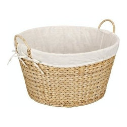 Household Essentials - Banana Leaf Round laundry Hamper, Natural - Our Banana Leaf Round Laundry Basket in natural color has a sturdy and natural look. The basket has two handles which makes carrying laundry to and from the machine or from the clothesline easy. It has a cotton liner which attaches around the handles, staying firmly in place so delicate fabrics won't snag. This durable basket keeps laundry manageable with charm and simplicity.