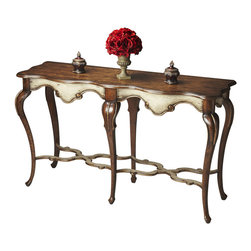 Butler Specialty - Butler Wentworth Appaloosa Console Table - You won -t find a straight line in this triumph of curvaceous elegance. From the sleek, tapered cabriole legs, to the graceful stretcher that binds them, to the carved and curled apron, to the tops winding edges, this piece is in constant motion. Crafted from Poplar solids and birch veneers, then finished in our two-tone Appaloosa.