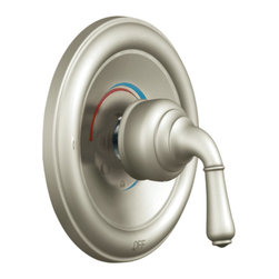 """Moen - Moen T2442BN Brushed Nickel Posi-Temp Valve Trim, 1-Function Balancing Cartridge - Moen T2442BN is part of the Monticello bath collection. Moen T2442BN is a new bathroom decor style by Moen. Moen T2442BN has a Brushed Nickel finish. Moen T2442BN Posi-Temp valve only trim fits any MPact common valve system or MPact Posi-Temp 1/2"""" valve available separately. Moen T2442BN is part of the Monticello bath collection with its simple beauty and elegant lines this collection brings a timeless design into any homes decor. Moen T2442BN valve trim includes single-function pressure balancing Cartridge. Moen T2442BN is a single handle valve trim only, the handle adjusts temperature. Moen T2442BN valve only single handle trim provides for ease of operation. Moen T2442BN Posi-Temp pressure balancing valve maintains water pressure and controls temperature. Moen T2442BN is approved by ADA. Brushed Nickel is an exclusive finish from Moen and provides style and durability. Moen T2442BN metal lever handle meets all requirements ofADA ICC/ANSI A117.1 and ASME A112.18.1/CSA B-125.1. Lifetime Limited Warranty."""