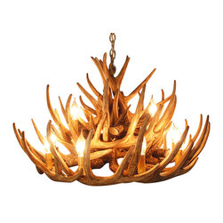 Muskoka Lifestyle Products - Rustic Whitetail 21 Antler Cascade Chandelier With 12 Lights - Our Rustic Whitetail 21 Antler Chandelier is the best faux antler chandelier available on the market. We have taken our replication process from our other rustic decor items and matched the authentic finish. Real antlers are used to model the reproduction for an exact and comparable result. The process to create the antler chandeliers uses a time proven, cast resin system to ensure perfection in every piece. We have hand-stained and antiqued each antler to achieve the exact comparable match to the real antler. Bring the perfect rustic decor to your home, cabin, or office with these antler chandelier reproductions. From the large majestic options to the quiet accent lights, our reproduction antler chandeliers are perfect for entry ways, pool tables, dining room tables, living rooms, offices, or anywhere you want to hang them to create the perfect, natural look in any room. All antler chandeliers are UL listed to ensure absolute safety, quality, and US building code parameters are met.