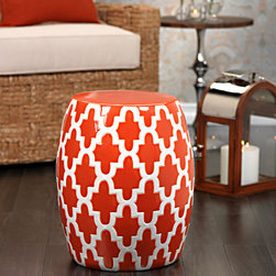 Mauritius Ceramic Garden Stool - A little pop of color goes a long way and the Mauritius Garden Stool is the perfect functional accessory that not only brings extra seating to any area that needs it but it gives just that pop of color that is needed to bring a space to life. A stunning white trellis design beautifully compliments the bright and wonderful tangerine hue that covers the surface of this lovely little stool.