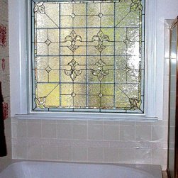 Fluer Kracht - Leaded and beveled stained glass privacy windows for master bath