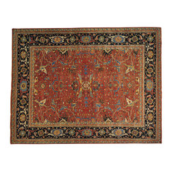 1800-Get-A-Rug - Antiqued Heriz Vegetable Dyes Handmade Oriental Rug 100% Wool Sh20174 - Our Tribal & Geometric hand knotted rug collection, consists of classic rugs woven with geometric patterns based on traditional tribal motifs. You will find Kazak rugs and flat-woven Kilims with centuries-old classic Turkish, Persian, Caucasian and Armenian patterns. The collection also includes the antique, finely-woven Serapi Heriz, the Mamluk, Afghan, and the traditional handmade village Persian rugs.