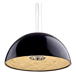 Zuo - Atmosphere Black Pendant Light - Give your space the finishing touch with the Atmosphere Black Pendant Light.  This oversized pendant light has the perfect combination of shape and style.  The retro lampshade covers the super-chic lighting element.  On the inside of the shade, you will find a more traditional design that is subtle and offers balance to the piece.  The polyresin and painted metal keeps the structure of the fixture feeling fresh and current.  Let the Atmosphere Black Pendant Light tie your dining room, dinette, or living room together.
