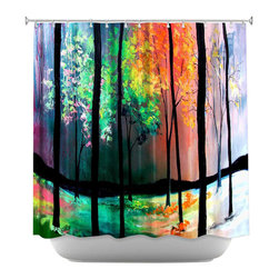 DiaNoche Designs - The Four Seasons Shower Curtain - Sewn reinforced holes for shower curtain rings. Shower curtain rings not included. Dye Sublimation printing adheres the ink to the material for long life and durability. Machine washable. Made in USA.