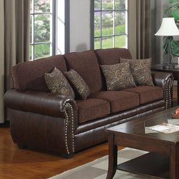 """Coaster - Florence Sofa, Chocolate - Bring a warm, elegant atmosphere to your home with this traditional sofa group. Upholstered in a luxurious tri-tone leather-like vinyl with sumptuous chocolate chenille seating and decorative nailhead trim. Adorned with stylish accent pillows, the Florence collection is sure to add class.; Traditional Style; Finish/Color: Chocolate; Upholstery: Chenille Fabric/Leather-like vinyl; Dimensions: 83""""L x 37""""W x 39""""H"""