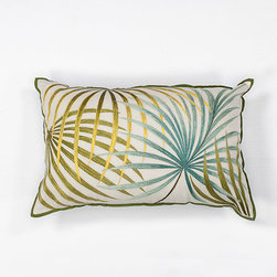 KAS Oriental Rugs - Ivory and Green Palms 12 x 20-Inch Rectangular Decorative Pillow - - Handmade of 100% Cotton with Embroidery  - Fill Material: Polyester Fiber  - Spot clean only with mild detergent and water. Test a small area first.  - The coordinating pillows will complete the look! See the companion items listed below KAS Oriental Rugs - PILL17012X20