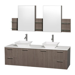"Wyndham Collection - Amare 72"" Grey Oak Double Vanity w/ White Man-Made Stone Top & Medicine Cabinet - Modern clean lines and a truly elegant design aesthetic meet affordability in the Wyndham Collection Amare Vanity. Available with green glass or pure white man-made stone counters, and featuring soft close door hinges and drawer glides, you'll never hear a noisy door again! Meticulously finished with brushed Chrome hardware, the attention to detail on this elegant contemporary vanity is unrivalled."