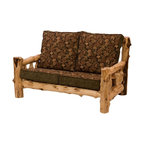 Fireside Lodge Furniture - Cedar 5 ft. Log Loveseat w Cushions (White Pi - Fabric: White Pine DuskCedar Collection. Includes 2 seat cushions. Cushion is a high-density foam with Dacron wra for lasting comfort. Back cushion is an over-stuffed poly foam pillow. Full log back. Northern White Cedar logs are hand peeled to accentuate their natural character and beauty. Individually hand crafted. Clear coat catalyzed lacquer finish for extra durability. 2-Year limited warranty. 60 in. W x 38 in. D x 36 in. H (130 lbs.)