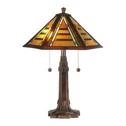 Dale Tiffany - Dale Tiffany TT11049 Grueby Tiffany 2 Light Table Lamps in Antique Golden Sand - Grueby Tiffany Table Lamp
