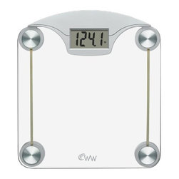 """Conair - Weight Watchers Digital Glass Weight Scale - Weight Watchers Digital Glass Weight Scale with Contemporary glass and silver finish; Extra-large easy-to-read 1.5"""" digital display; 400 lb./180 kg weight capacity; Displays weight in 0.1 lb./50 g increments; Safety tempered glass platform 12"""" x 13.5""""; """"Tap-on"""" scale activator; Long-life lithium battery."""