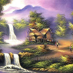 Oriental-Decor - Thai Cottage Oriental Painting - Thailand is home to many long-standing villages and beautiful natural settings. The use of brown and purple hues in this piece lend to a style and feel that exudes sensations of a magical land. Place this exquisite painting in any room to add a touch of the Orient to your home or office.