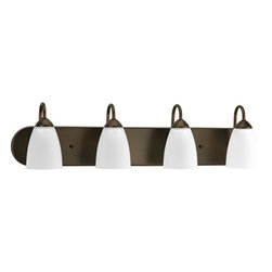Progress Lighting - Gather Antique Bronze Four-Light Fluorescent Bath Fixture with Etched Glass Shad - - Fixture can be installed facing upwards or downwards; Listed for damp locations  - Four-light bath with bulb  - Four Light Bath  - Glass: Etched  - Height From Center of Box: 2.5-Inch  - Finish/Color: Antique Bronze  - Product Width: 30  - Product Height: 7.5  - Product Height: 7.5  - Product Weight: 10  - Product Dept: 30  - Product Extension: 6.5  - Material: Steel  - Bulb included Progress Lighting - 942709-20EBWB